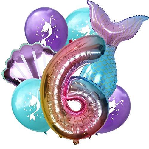 DIWULI, großes Meerjungfrau Luftballon Set, XL Zahlen-Ballon Zahl 6, Folien-Ballons, Latex-Ballons 6. Kinder-Geburtstag Junge Mädchen, Motto-Party, Dekoration, Ballon-Set Deko lila bunt, Meer, Muschel