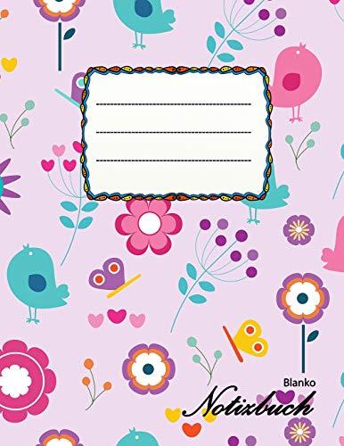 Blanko Notizbuch: A4 Format   112 Seiten   Notizbuch mit Register   Notizbuch für Mädchen   ideal als Tagebuch, Skizzenbuch, Sketchbook, Zeichenbuch oder leeres Malbuch   in zuckersüßem Design