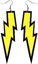 LEKUSHA Women's 80s Costume Accessories Fashion Retro Neon Lightning Earrings - Yellow
