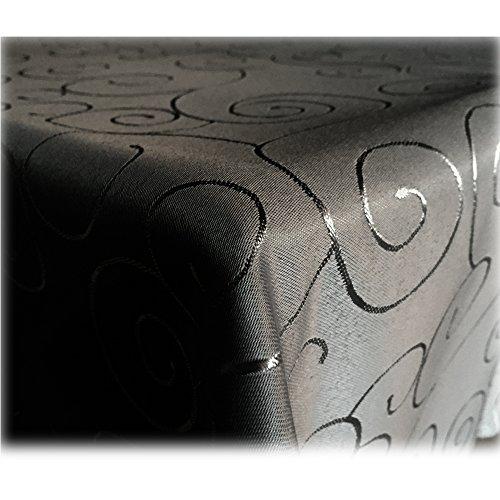 Mantel JEMIDI con adornos brillantes de seda, 31tamaños y 7colores, poliéster, negro, Oval 130x220