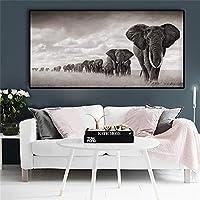 自然動物野生象キャンバスアート絵画ポスターとプリント壁アート写真リビングルームホームクアドロス装飾80x160cmフレームレス