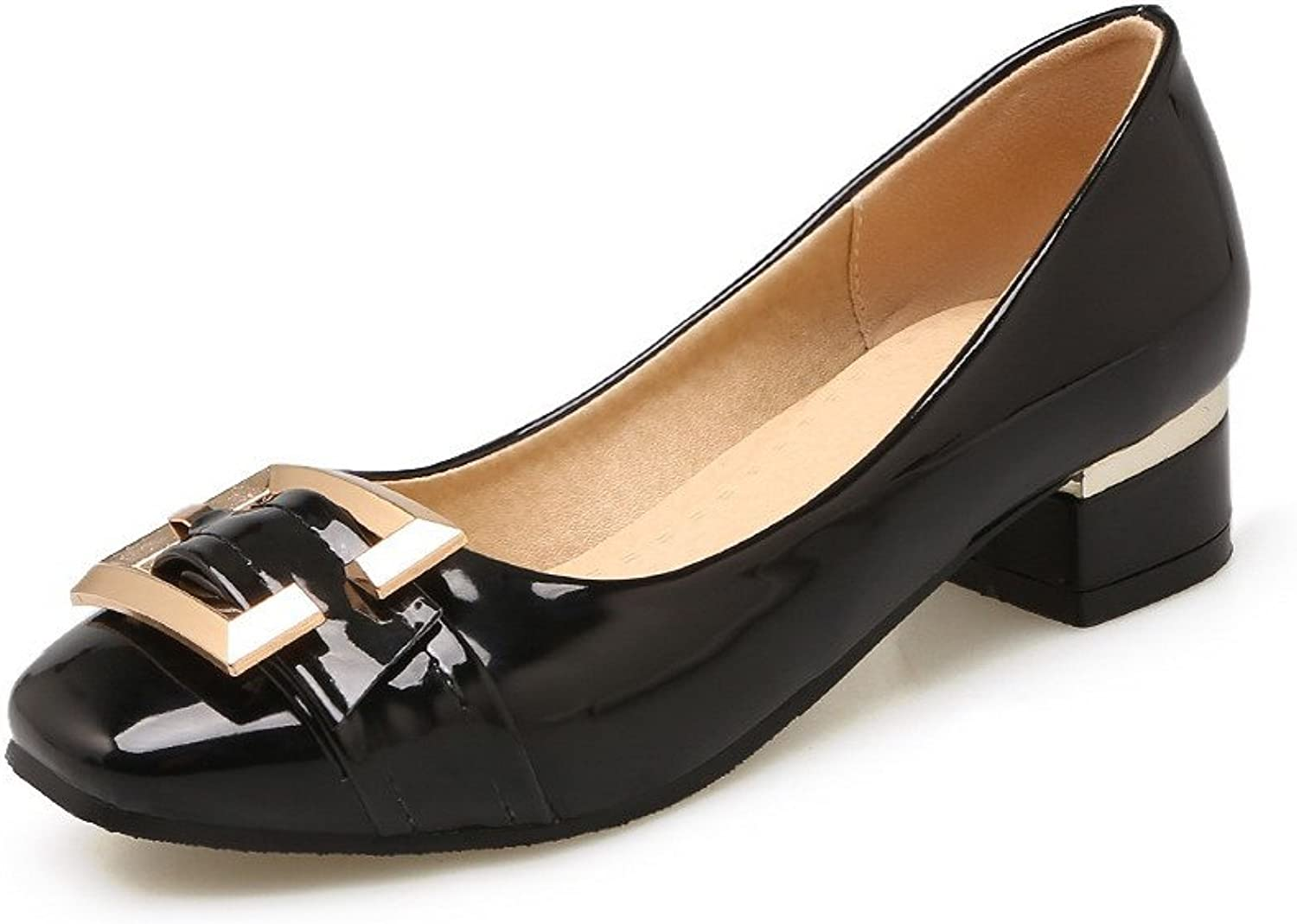 WeiPoot Women's Pull-On Square-Toe Low-Heels PU Solid Pumps-shoes