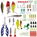 DANIVE Fishing Lures Set, 79 PCS Fishing Lure Tackle Kit, for Trout, Salmon, Including Crankbait, Spoon Lures, Soft Plastic Frog, Jigs, Spinner Baits, Fishing Pliers, Topwater Lures