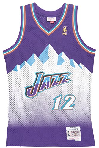 John Stockton Utah Jazz Mitchell and Ness Men's Purple Throwback Jesey X-Large