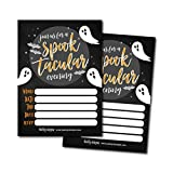 25 Ghost Halloween Party Invitation Cards for Kids Adults, Vintage Birthday or Wedding Bridal Baby Shower Paper Invites, Scary White Costume Dress up, Horror DIY Spooktacular House Bash Idea Printable