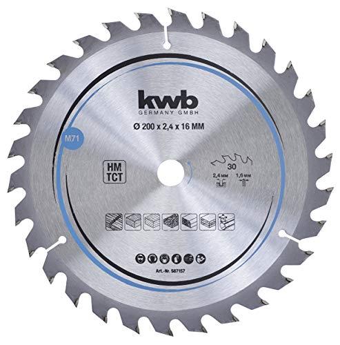 kwb 587157 - Hoja de sierra circular para madera y madera dura, 200 x 16 mm, cortes limpios, número medio, 30 dientes Z-30, hoja de sierra CleanCut media, 200 x 16 mm