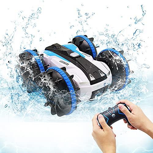 Spielzeug für 5-10 Jahre alte Jungen Amphibien RC Auto für Kinder 2,4GHz Fernbedienung 360 °Drehung Off Road Wasserdichtes 4WD Fernbedienungsfahrzeug Mädchen Geschenke Wasser Strand Pool Spielzeug