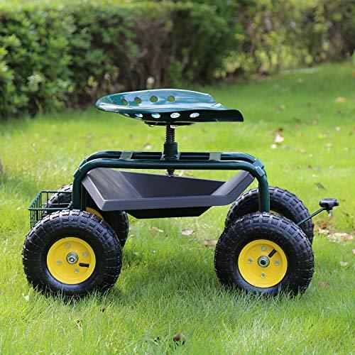Kinbor Garden Cart Rolling Work Seat with Wheels...