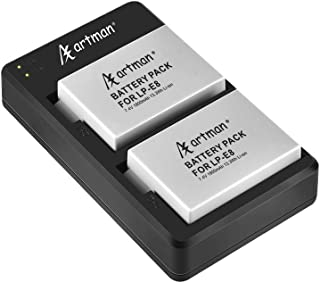 Artman Replacement Battery and Rapid Dual Charger Set for Canon LP-E8 and Canon EOS Rebel T2i, T3i, T4i, T5i, EOS 550D, 600D, 650D, 700D, Kiss X4, X5, X6, LC-E8E Camera(2-Pack, 1800mAh)