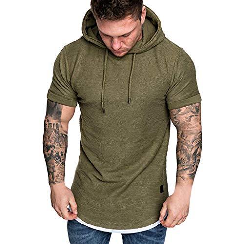 MEIbax Moda de Primavera Verano Camiseta Delgada Hombres Sudadera Color Liso Mangas Cortas Entrenamiento Top Fitness Cómodo y Transpirable Combinado Jeans, Pantalones Casuales (L, Ejercito Verde A)