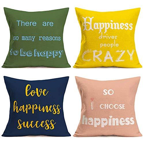 YYUU Juego de 4 fundas de almohada con frase en inglés 'Happy Happiness', inspiradoras fundas de almohada de algodón y lino, decoración colorida con regalos de inauguración de la casa