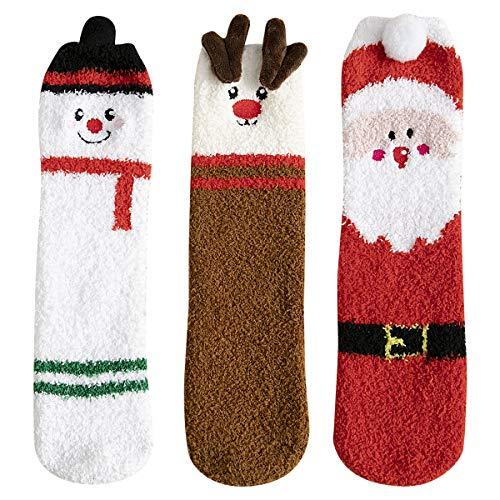 QIMAOO Calze Natalizie Donna Uomo Calzini Natale Donna Calzini Cotone di Natale Caldo Inverno Confortevole Calza (3 Paio)