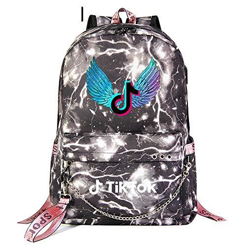 Outdoor Lightweight School Backpack Ladies USB Charging Port Travel Hiking Backpack 45cm*30cm*15cm Gray Lightning