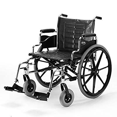 """Invacare Tracer IV Wheelchair, with Desk Length Arms and T93HCP Hemi Footrests with Heel Loops, 24"""" Seat Width"""