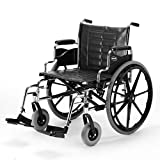 Invacare - T424RDAP / T93HCP Tracer IV Wheelchair, with Desk Length Arms and T93HCP Hemi Footrests with Heel Loops, 24' Seat Width
