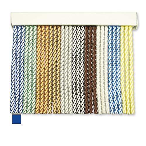 Cortinas Exterior Puerta de Cordon   Tiras Plastico PVC y Barra Aluminio   Ideal para Terraza y Porche   Antimoscas   Blanco-Azul   210 * 120