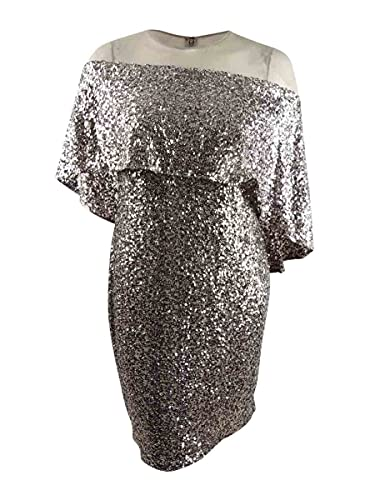 Betsy & Adam Womens Plus Sequined Mesh Trim Cocktail Dress Taupe 14W
