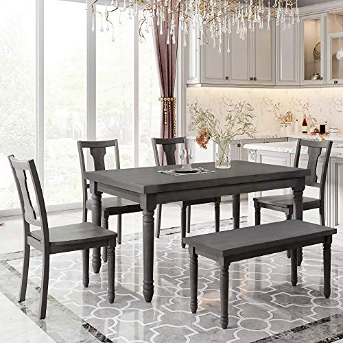 Conjunto de mesa de comedor de madera de 6 piezas con banco y sillas de comedor, conjunto de mesa de comedor de 6 piezas para 6 personas, mesa de cocina ...