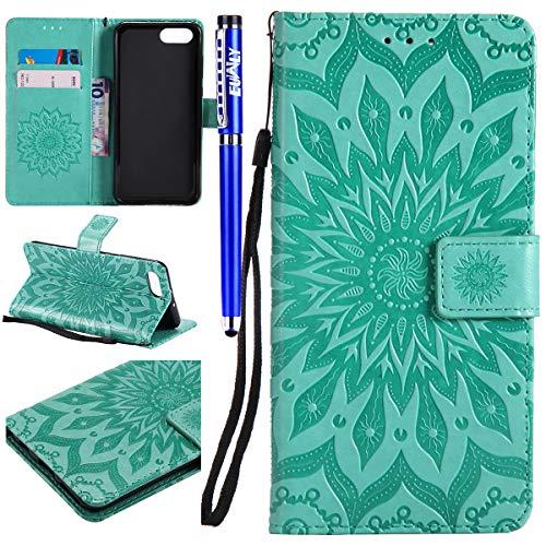 EUWLY Kompatibel mit Huawei Honor View 10 Leder Handy Hülle, Sonnenblume Mandala Blumen Muster Flip Case Wallet Case Flip Schutzhülle Brieftasche Hülle Klapphülle mit Kartenfach,Grün