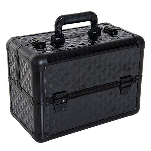 HOMCOM Estuche de Maquillaje Maletín para Maquillaje Organizador Cosméticos Profesional Caja de Belleza Portátil 4 Niveles 35.5x20x25.5cm Aluminio