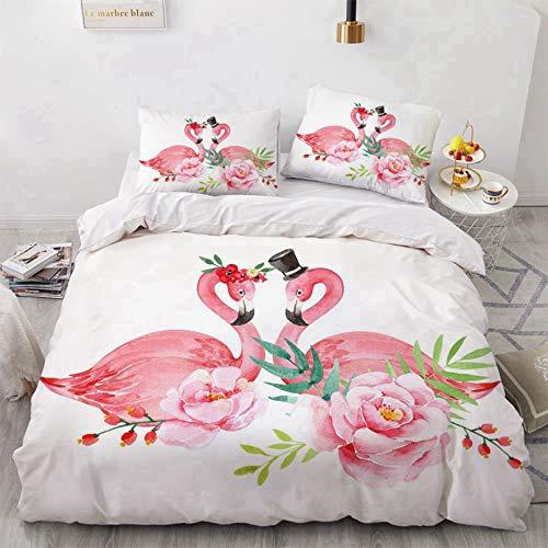 Bate - Funda de edredón para cama individual, doble king, estampado de flamencos, funda de edredón digital de microfibra, para niñas, 200 x 200 cm