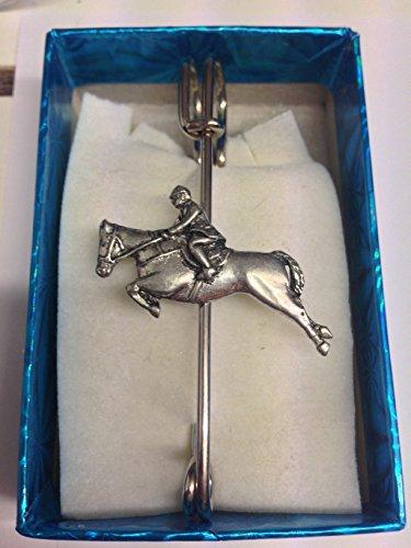 Showjumper PP-E01 Horquilla de caballo y ecuestre con emblema de peltre de 7,6 cm y 7,5 cm