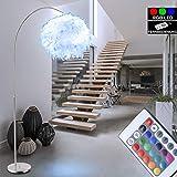 Feder Steh Leuchte weiß verstellbar Ess Zimmer Lampe rund dimmbar im Set inkl RGB LED Leuchtmittel