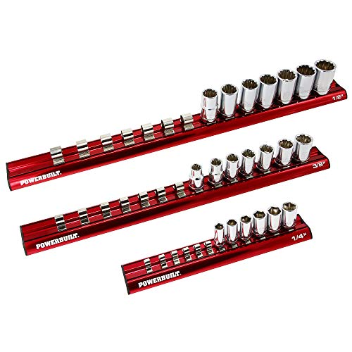 Powerbuilt 3 Pc. 1/4 in. 3/8 in. and 1/2 in. Drive Magnetic Socket Holder Set