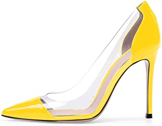 elashe Scarpe col Tacco Donna,Trasparente Scarpe,cap-Toe PVC Scarpe col Tacco