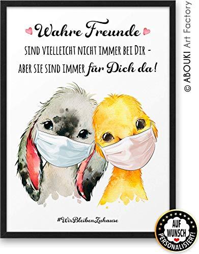 Wahre Freunde ABOUKI Kunstdruck [ideales Geschenk] - moderne Deko - Design Poster als Trost in der Corona Krise » auf Wunsch personalisiert « Kunst als Poster – Hochwertiges Bild