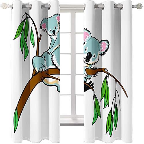 KnBoB Polyester Vorhänge Weiß Blau Grün Koala Baum Vorhänge für Lange Fenster Größe 214x183CM