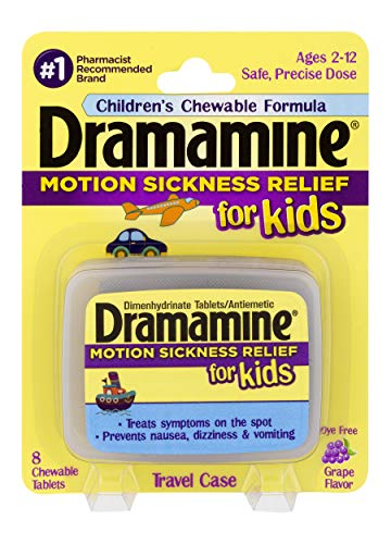 Dramamine Motion Sickness Relief for Kids | Chewable Grape | 8 Count | 6 Pack