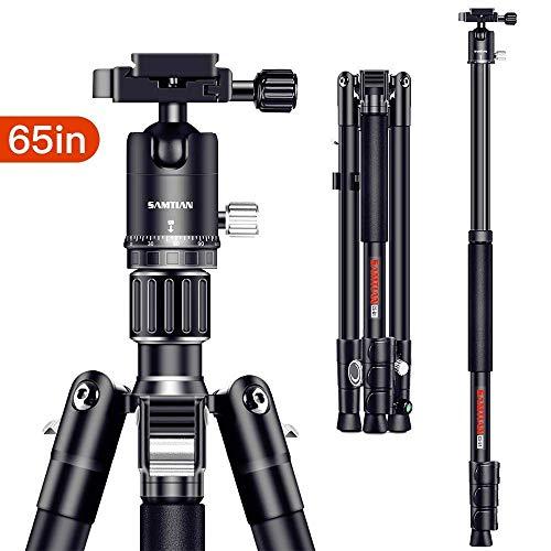 SAMTIAN Camera Tripod, 165cm / 65inches Aluminum Portable Tripod With Monopod...