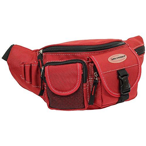 Geschenkset - exklusiver Greenland Nature Schlüsselanhänger + Herren & Damen Bag Gürteltasche Bauchtasche Angeltasche Wimmerl Tasche Farbe rot