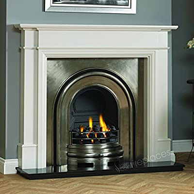 Traditional Large Gas Fire Fireplace Suite, Grey Surround Mantel, Black Granite Stone Hearth, Cast Iron Arched back panel