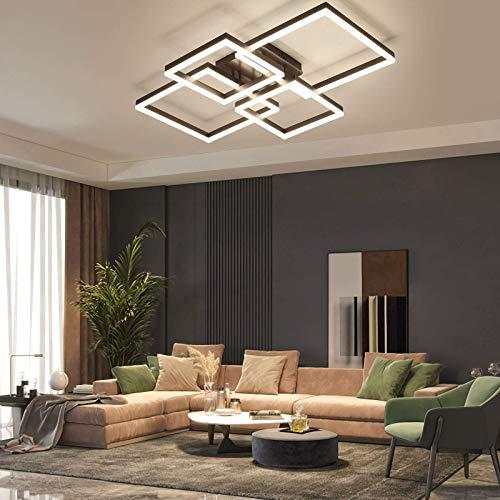 Luz del ventilador de techo, Luz de techo geométrica moderna: luces de techo de montaje en descarga rectangular con control remoto de aluminio y pulpa de gel de sílice 3000k - 6500k regulable para el