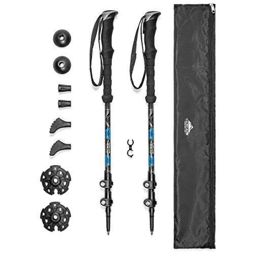 Cascade Mountain Tech Trekking Poles - Carbon Fiber Strong Adjustable Hiking or Walking Sticks - Lightweight Quick Adjust Locks - 1 Set (2 Poles), Blue