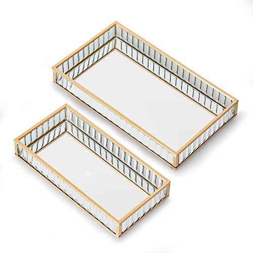 TERESA'S COLLECTIONS 2Pcs Bandeja de Almacenamiento de Joyas, 20/24cm Organizador de Joyas de Vidrio Espejo Dorado para Anillo Collar Lápiz Labial, Decoración de Baño de Metal para el hogar Tocador
