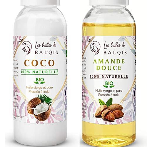 2x50ml Huile de noix coco bio & Huile d' amande douce bio pure 100% naturelle pressée à froid soin de la peau de bébé cheveux