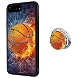 iPhone 8 Plus Case with Phone Stand Holder, Fashion Basketball in the Flame and Water iPhone 7 Plus Case, Cute 360 Degree Rotating Ring Grip Bumper Protective Cover for iPhone 7 Plus/8 Plus 5.5 inch