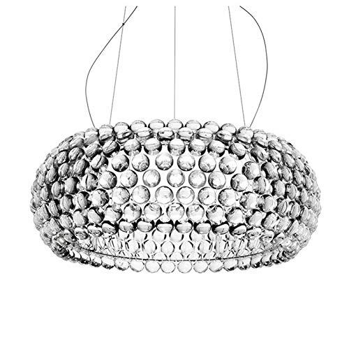 PoJu Lámpara Moderna Sala de Estar Acrílico RS7 Bombilla Luces Colgantes Accesorio Lámpara Colgante para Comedor Lámpara Colgante Transparente (Color : Diameter 60cm)