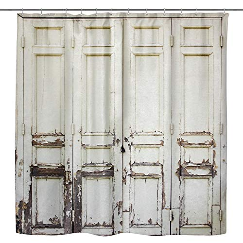 Kewwe Rustic Barn Door Shower Curtain Farmhouse Shabby Wooden Door 60Wx72H Inch Vintage Chic White and Black Peeled Wood Waterproof Polyester Fabric Bathroom Decorations with 12 Hooks