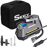 SKEY Digital Tyre Inflator, Portable Air Compressor Pump, DC 12V 150PSI, Car Pump Tire Inflator with Auto Shut Off, LED Flashlight, 3 Nozzle Adaptors and Extra Fuse (1)