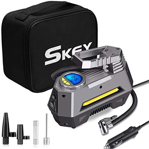 SKEY Elektrisch Luftpumpe Tragbare Luftkompressor DC 12V 150PSI Luftpumpe mit LCD-Bildschirm für Auto, Fahrrad, Motorrad, Basketball, Football usw. (Schwarzer Handtasche)
