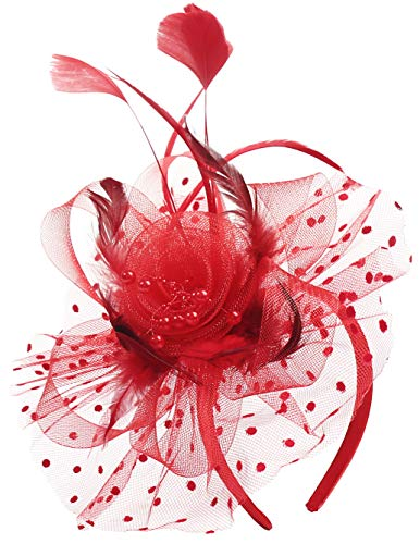 Myjoyday Fascinator Hats for Tea Party Kentucky Derby Headband Cocktail Feather Headwear Wedding Hats Hair Clip for Women (Red)