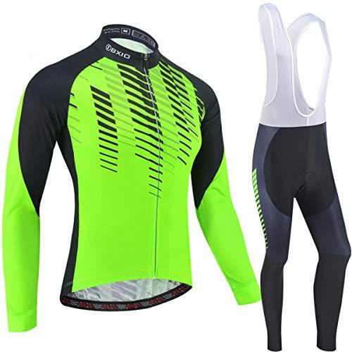 BXIO Abbigliamento da Ciclismo Invernale, Pile Termico Manica Lunga e Calzamaglia MTB Abbigliamento da Bici per l'inverno 203 (Winter(Fluo Green,203,Long Bib Pants), S)