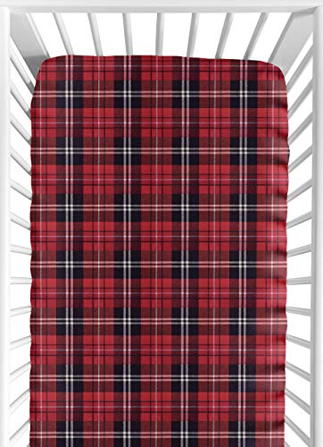 Red and Black Woodland Plaid Flannel Baby or Toddler Fitted Crib Sheet for Rustic Patch Collection by Sweet Jojo Designs