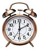 Despertador WTL Reloj, Reloj de Alarma de Noche Antiguo con Twin Bell de tictac, Reloj de Alarma analógico de Cuarzo analógico con batería Vintage con luz Nocturna para Dormitorio marrón