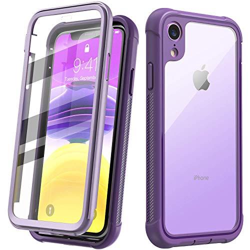 Temdan iPhone Xr Hülle, 360 R&umschutz Transparente Bumper Hülle mit Eingebautem Bildschirmschutz Robuste Stoßfeste Handyhülle Schutzhülle für Apple iPhone Xr 6,1 Inch 2018 (Lila)