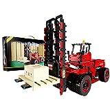 BAXT Carretilla elevadora de técnica con 6 ruedas, con mando a distancia de 2,4 G/aplicación y 5 motores Forklift, bloques de sujeción de 2015, compatible con Lego Technic